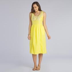 Платье ярко-желтого цвета ниже колена с цветочной вышивкой MD 247