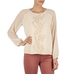 Шифоновая блузка розового цвета с цветочной аппликацией BL 548