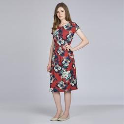 Платье отрезное по талии приглушенно красного цвета с крупным цветочным принтом MD 314