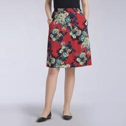 Юбка на резинке красного цвета длиной до колен с цветочным принтом MS 262