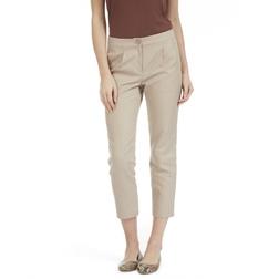Укороченные брюки бежевого цвета из хлопка и льна TR 675