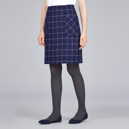 А-образная юбка темно-синего цвета из шерсти в клетку с двумя карманами MS 346