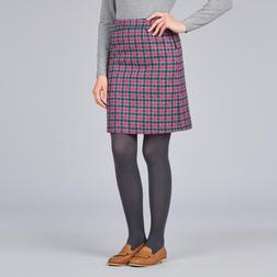 А-образная юбка из шерсти темно-серого цвета в клетку розового цвета MS 923