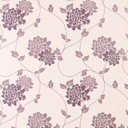 Бумажные обои с фиолетовым рисунком цветов хризантемы ISODORE (Grape)