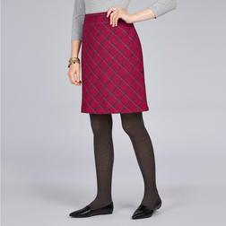 А-образная юбка из шерсти бордового цвета в косую клетку MS 359