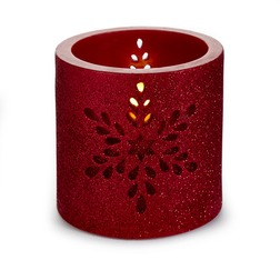 Новогодний декор в виде свечи и с маленькой лампочкой SNOWFLAKE CANDLE LIT 10*10*10 (Red)