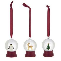 Набор ёлочных шариков из стекла с миниатюрами SNOWGLOBE MINI GLOBES SET OF 3 2,5*5 (Red)