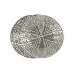 Набор серебристых подставок под чашку BEADED SET OF 4 COASTERS Ø10 (Silver)