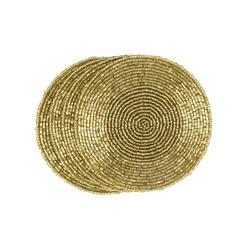 Набор золотистых подставок под чашку BEADED SET OF 4 COASTERS Ø10 (Gold)