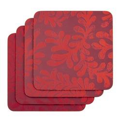 Набор подставок под чашку с растительным рисунком красного цвета BERKELEY SCROLL SET OF 4 COASTERS