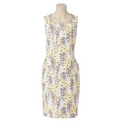 Приталенное платье без рукава с цветочным узором и квадратным вырезом MD 206