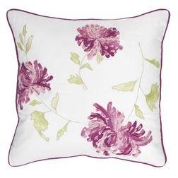 Квадратная подушка с вышивкой крупных цветов хризантемы NINETTE EMBROIDERY 45*45 (Berry)