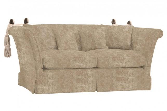 Большой диван с раскладывающимися подлокотниками в плюшевой ткани LANGHAM L2ST 89*204*102