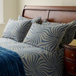 Набор постели с большим пододеяльником в сине-бежевых цветах  CURZON KG 230*220 (Sapphire)
