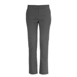 Прямые брюки черного цвета в бежевый горошек TR 808