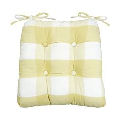 Мягкая подушка для стула в клетку приятного желтого цвета WHITBY 40*40 (Camomile)