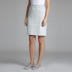 Прямая юбка бирюзового цвета в клетку MS 206