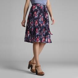 Мятая юбка из хлопка темно-синего цвета с цветочным узором MS 217
