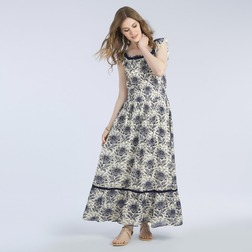 Платье в пол кремового цвета с красивым цветочным принтом темно-синего цвета MD 292