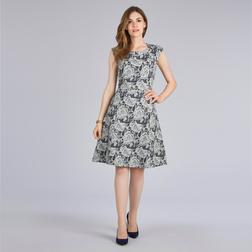 Жаккардовое платье серого цвета с роскошным цветочным узором MD 364