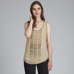 Легкая двуслойная блузка бежевого цвета с вертикальными полосками из бисера BL 922