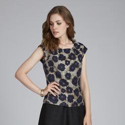 Жаккардовая блузка без рукава золотистого цвета с цветочным узором темно-синего цвета BL 923