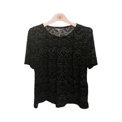 Бархатная футболка черного цвета свободного кроя TS 567