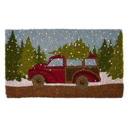 Придверной коврик в зимней тематике из кокосового волокна ALPINE RESORT DOORMAT 45*75 (Cranberry)