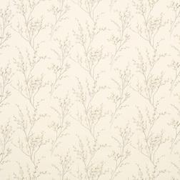 Гардинная ткань украшена принтом весенней вербы PUSSY WILLOW (Off White/Dove Grey)