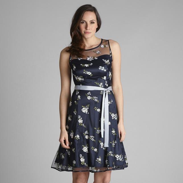 Платье темно-синего цвета на подкладке с цветочной вышивкой и пояском MD 199