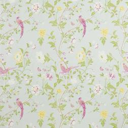 Ткань для штор с ярким рисунком птиц и цветов SUMMER PALACE (Duck Egg)