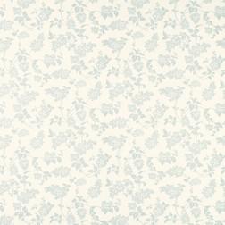 Бумажные обои светло-бежевого цвета в голубые силуэты гроздей сирени LILAC (Duck Egg)