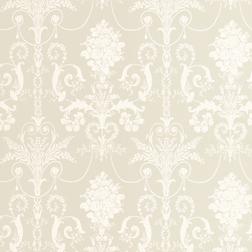 Бумажные обои светло-серого цвета с роскошным белым рисунком JOSETTE (Sable)