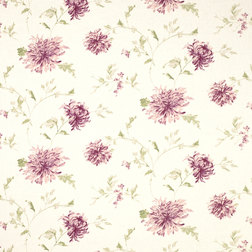 Ткань в крупные цветы хризантемы бордового цвета NINETTE (Berry)