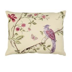 Декоративная подушка с вышивкой птиц и растительности SUMMER PALACE 40*50 (Linen)