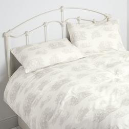 Красивый комплект постели с архивным рисунком светло-серого цвета TOILE DB 200*200, 50*75 set of-2