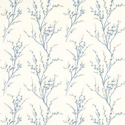 Ткань для штор с рисунком силуэтов весенней вербы PUSSY WILL0W (Off White/Seaspray)