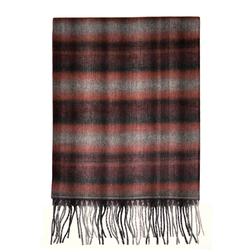 Мужской шарф в темных оттенках красно-черных цветов с бахромой ME 092