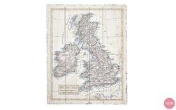 Картина-карта Великобритании BRITISH ISLES ON WOOD PANEL 70*57 (Мulti)