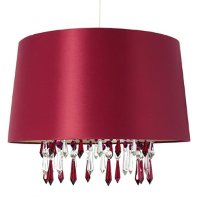 Люстра-абажур клюквенного цвета LEO BEADED (Cranberry)