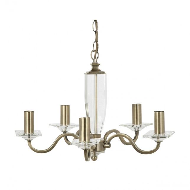 Люстра на 5 лампочек из металла и стекла CARSON 5 ARM (Brass)