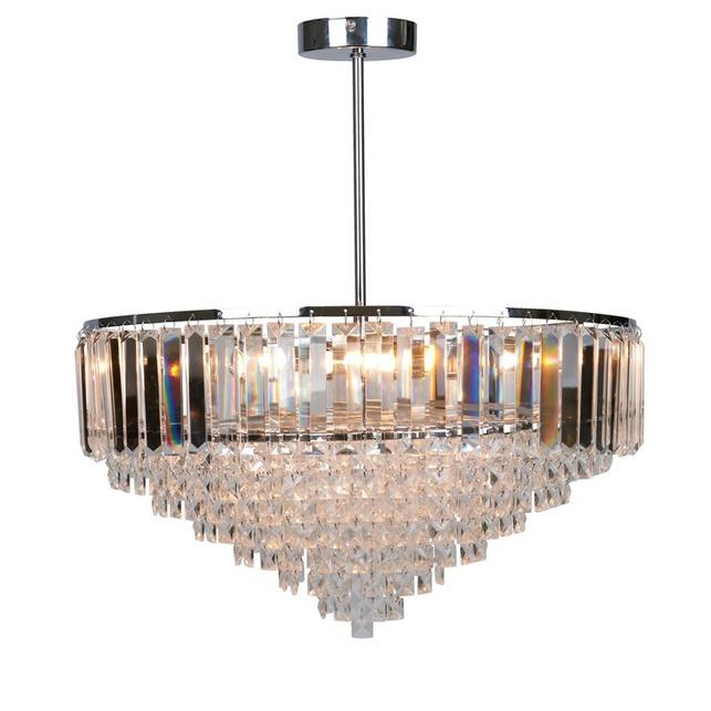 Большая люстра серебристого цвета с стеклянными подвесками VIENNA LARGE 43*47 (Clear)