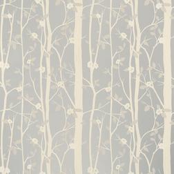 Влагостойкие обои с лиственным орнаментом оттенка металлик COTTONWOOD (Silver)