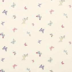 Стильные бумажные обои с рисунком бабочек разных цветов SUMMER MEADOW (Cerise)