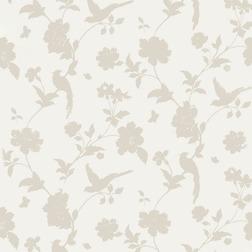 Бумажные обои с рисунком силуэта птиц и растительности бежевого цвета FARLEIGH (Natural)
