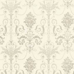 Бумажные обои кремового цвета с роскошным рисунком темно-бежевого цвета JOSETTE (Drak Linen)