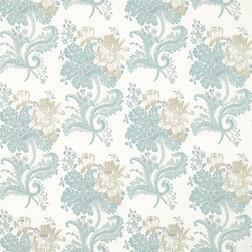 Бумажные обои с крупным цветочным рисунком в бежево-голубой гамме ROSE HILL (Duck Egg)