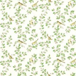 Красивые бумажные обои с зеленой растительностью и птицами AVIARY GARDEN (Apple)