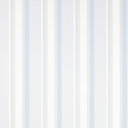 Бумажные обои в вертикальную полоску серого и голубого цвета EATON STRIPE (Dove Grey/Seaspray)