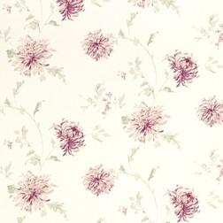 Бумажные обои в крупные цветы хризантемы бордового цвета NINETTE (Berry)